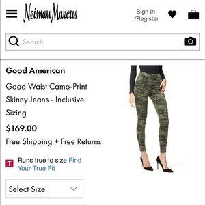 "Good American camo skinny jeans ""good waist"""